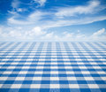 Blue tablecloth backgound with sky on table Royalty Free Stock Photo