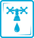 Blue tap spigot icon isolated with droplet Royalty Free Stock Photography