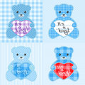 Blue teddy bears cards Stock Image