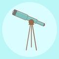 Blue Telescope: cartoon Royalty Free Stock Photo
