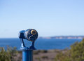 Blue telescope on coast of Malibu Royalty Free Stock Photo