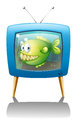 A blue television with a fish illustration of on white background Stock Images