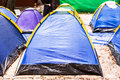 Blue tents on campsite closeup of group of Stock Images