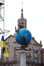 Blue terrestrial globe sculpture kiev indipendence square in Royalty Free Stock Photos
