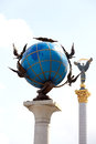 Blue terrestrial globe sculpture kiev indipendence square in Stock Image