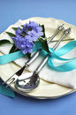 Blue theme formal dinner table setting - vertical. Stock Photography