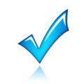 Blue tick glowing check mark icon Royalty Free Stock Images