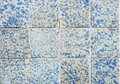 Blue tile wall close up architectural detail of and white colonial style tiles in tunisia Royalty Free Stock Photos