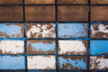 Blue tiled wall old bad conditions Stock Images