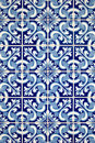 Blue tiles detail of Portuguese glazed Royalty Free Stock Photography