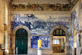 Blue tiles in sao bento train station porto portugal azulejos depicting the battle of valdevez Stock Photography
