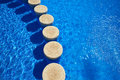 Blue tiles swimming pool water texture Royalty Free Stock Photo
