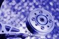 Blue tint macro hard disk drive Royalty Free Stock Photos