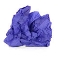 Blue tissue paper crumpled over white background Royalty Free Stock Photography