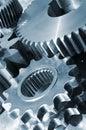 Blue titanium and steel gears