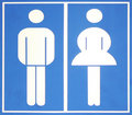 Blue toilet sign Stock Photos