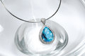 Blue topaz necklace teardrop cut with diamonds Stock Images