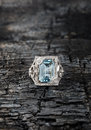 Blue topaz ring Royalty Free Stock Photo