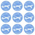 Blue tourist stamps. Welcome signs with airplane