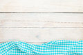 Blue towel over wooden kitchen table Royalty Free Stock Photo