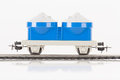 Blue toy car pictured items of a railroad Royalty Free Stock Photography