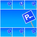 Blue traffic signs set Stock Images