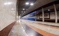 Blue train in motion at subway station samara russia october rossiyskaya Royalty Free Stock Image