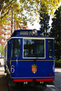 The blue tram to Tibidabo in Barcelona Royalty Free Stock Images