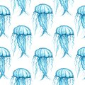 Blue transparent jellyfish on a white background. Seamless pattern. Watercolor illustration. Marine life. Undersea world. For Royalty Free Stock Photo