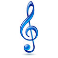 Blue treble clef shiny on white background Stock Photos