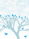 Blue Tree with birds perched and flying around Stock Images