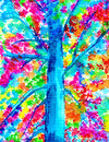 Blue tree trunk with illuminated leaves watercolor electric colored vibrant painting Stock Photo