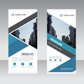 Blue triangle Business Roll Up Banner flat design template ,Abstract Geometric banner template Vector illustration set Royalty Free Stock Photo