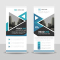 Blue triangle roll up business brochure flyer banner design , cover presentation abstract geometric background, modern publication Royalty Free Stock Photo