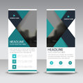 Blue triangle roll up business brochure flyer banner design , cover presentation abstract geometric background, modern publication