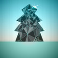 Blue triangular christmas tree vector card Stock Image
