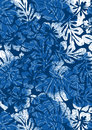 Blue tropical ferns and hibiscus vector illustration of a pattern in repeat Stock Photo