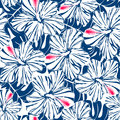 Blue tropical hibiscus and palm seamless pattern Royalty Free Stock Photo