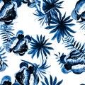 Blue Tropical Leaf. White Seamless Illustration. Navy Pattern Vintage. Cobalt Drawing Vintage. Indigo Floral Textile.