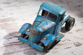 A blue truck an old rusty toy Royalty Free Stock Photography