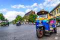 Blue Tuk Tuk, Thai traditional taxi in Bangkok Thailand Royalty Free Stock Photo