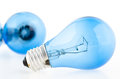 Blue tungsten bright light bulb Stock Photography