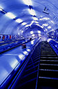 Blue tunnel in the london underground Stock Image