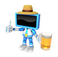 Blue tv farmer mascot the left hand best gesture and right hand is holding a beer mug create d television robot series Royalty Free Stock Photos