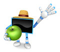 Blue tv farmer mascot the right hand guides and the left hand is holding a apple create d television robot series Royalty Free Stock Photos