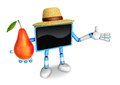Blue tv farmer mascot the right hand guides and the left hand is holding a pear create d television robot series Royalty Free Stock Photography