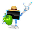 Blue tv farmer mascot the right hand guides and the left hand is holding a sweet pepper create d television robot series Royalty Free Stock Image