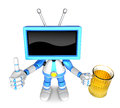Blue tv mascot the left hand best gesture and right hand is hold holding a beer mug create d television robot series Royalty Free Stock Photography