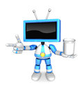 Blue tv mascot the right hand guides and the left hand is holdin holding a juice create d television robot series Stock Photography