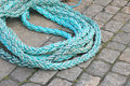 Blue twisted rope. Royalty Free Stock Image